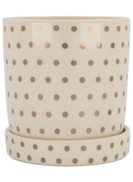 bloempot Ø 12.5 cm - keramiek - wit/goudkleurig - 13392088 - HEMA