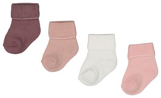 4-pak babysokken roze roze - 1000021602 - HEMA