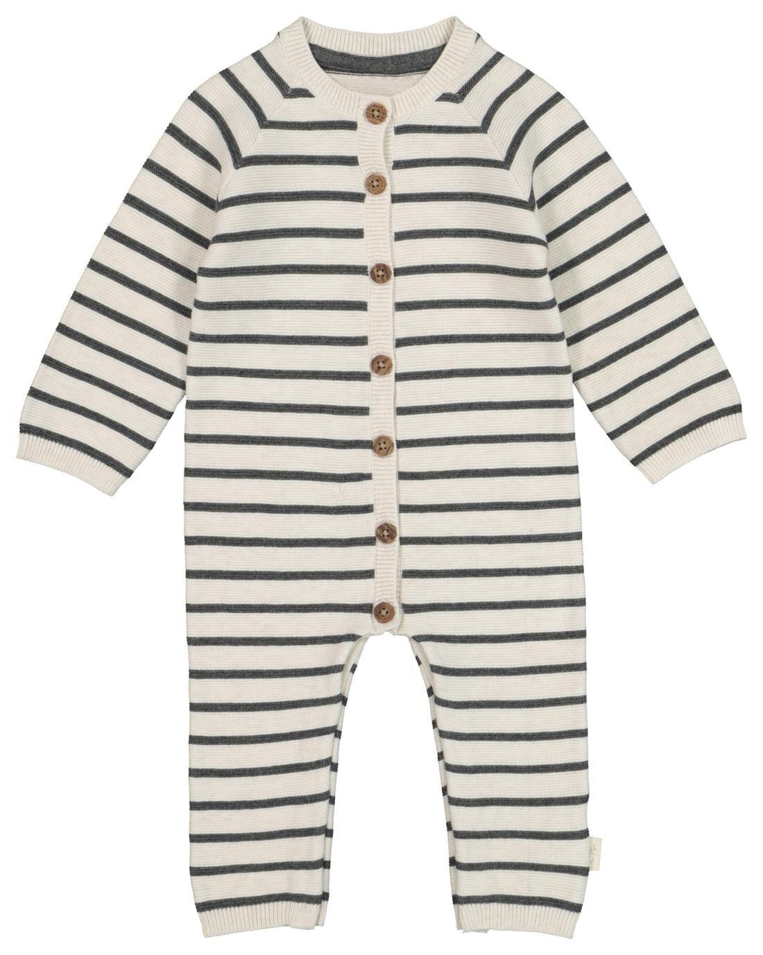 HEMA Newborn Jumpsuit Organic Katoen Gebreid Grijs