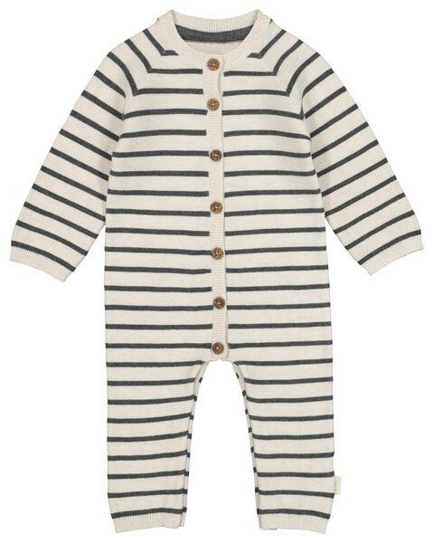 newborn jumpsuit organic katoen gebreid grijs 68 - 33438434 - HEMA