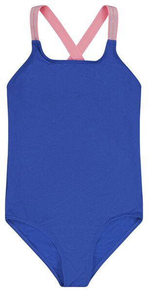 kinder badpak reliëf blauw 146/152 - 22280708 - HEMA