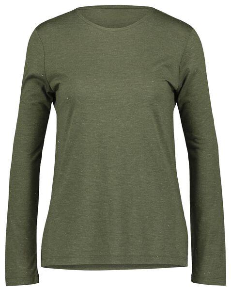dames t-shirt met glitter olijf - 1000021440 - HEMA