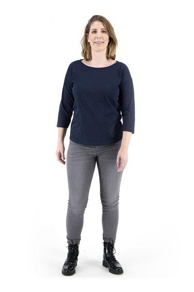 dames t-shirt donkerblauw donkerblauw - 1000018259 - HEMA