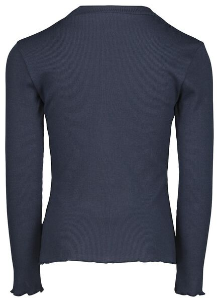 kinder t-shirt rib donkerblauw 134/140 - 30807946 - HEMA