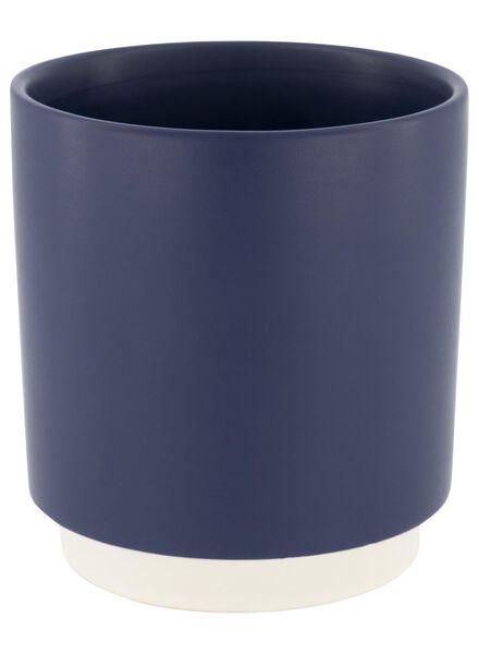 bloempot - 14.5 cm x Ø 13 cm - donkerblauw keramiek - 13392149 - HEMA