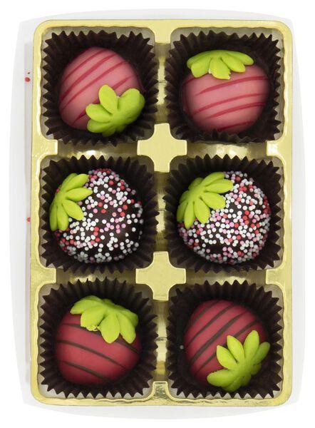 marsepein aardbeien met chocolade 6 stuks - 10050062 - HEMA
