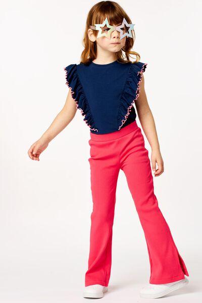 kinder t-shirt met ruffle donkerblauw donkerblauw - 1000023274 - HEMA