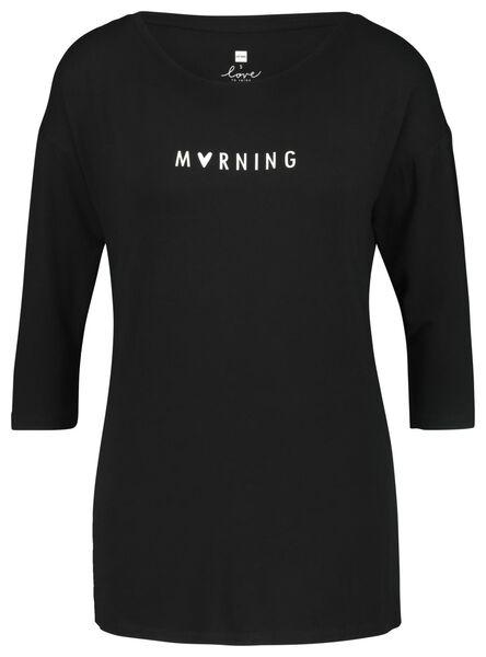 dames nachttop 'morning' zwart zwart - 1000021693 - HEMA