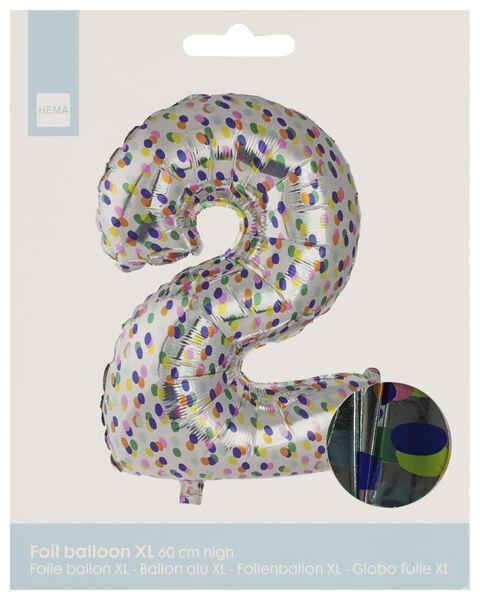 folieballon XL cijfer 2 - confetti zilver 2 - 14230272 - HEMA