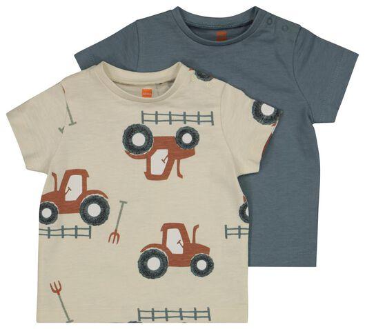 baby t-shirts - 2 stuks blauw 86 - 33109245 - HEMA