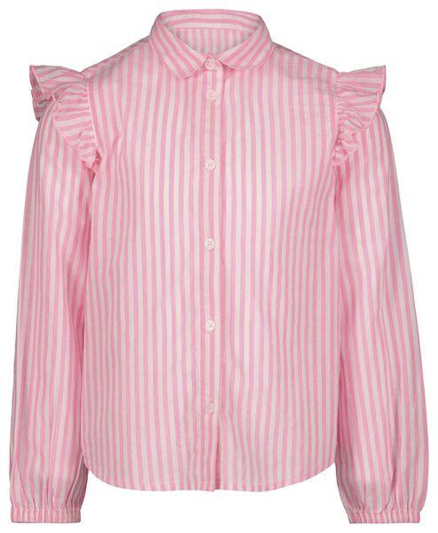 kinderblouse strepen fluor roze 122/128 - 30800478 - HEMA