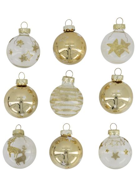 kerstballen glas goud Ø 4 cm - 9 stuks - 25100885 - HEMA