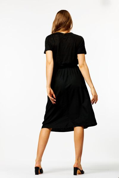 damesrok met linnen zwart zwart - 1000024263 - HEMA