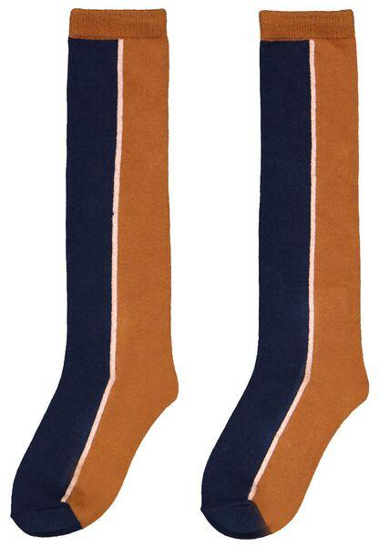 kinder kniesokken kleurblok bruin bruin - 1000024597 - HEMA