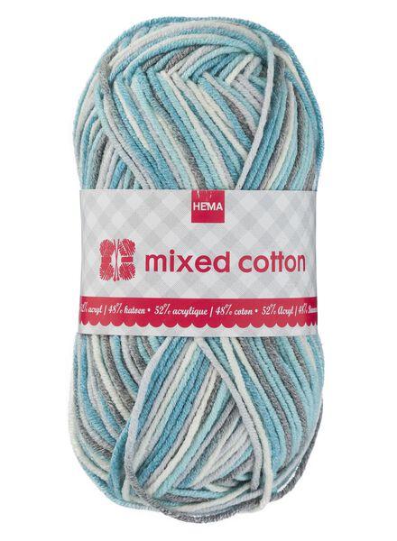 breigaren mixed cotton - blauw/wit/grijs - 1400160 - HEMA