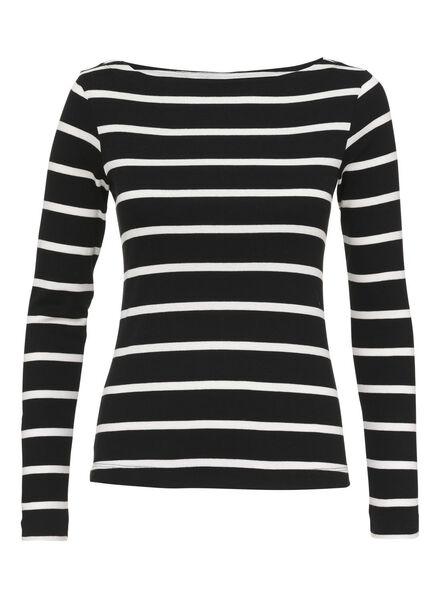 dames t-shirt zwart/wit zwart/wit - 1000008832 - HEMA