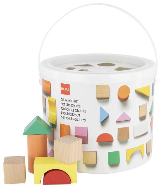 houten blokkenset in emmer 50-delig - 15190325 - HEMA