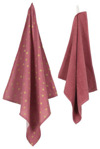 thee- en keukendoek - katoen - roze/goud - 2 stuks - 5490024 - HEMA