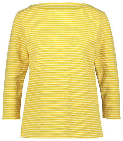 dames-shirt streep structuur geel geel - 1000023726 - HEMA