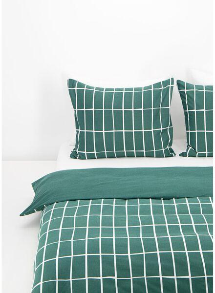 dekbedovertrek - flanel - ruit groen groen - 1000016604 - HEMA