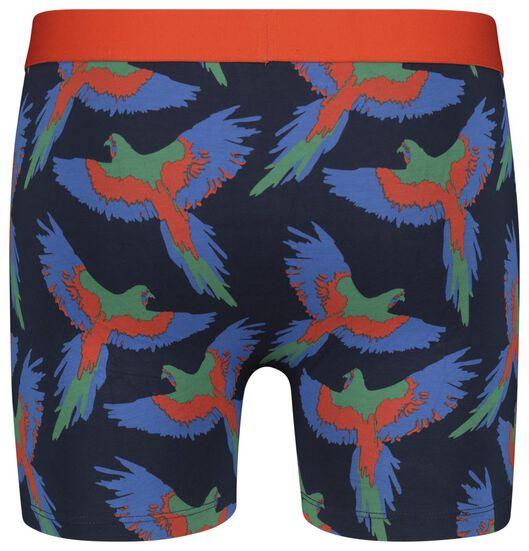 herenboxer lang katoen stretch - papegaaien blauw blauw - 1000020832 - HEMA