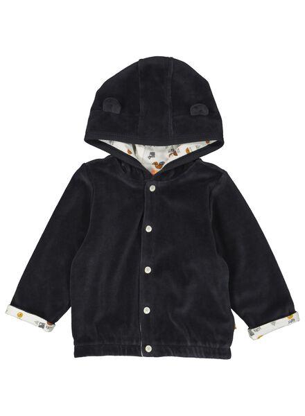 newborn jasje met capuchon - velours grijs grijs - 1000014177 - HEMA