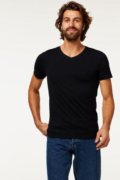 heren t-shirt slim fit v-hals zwart M - 34276834 - HEMA