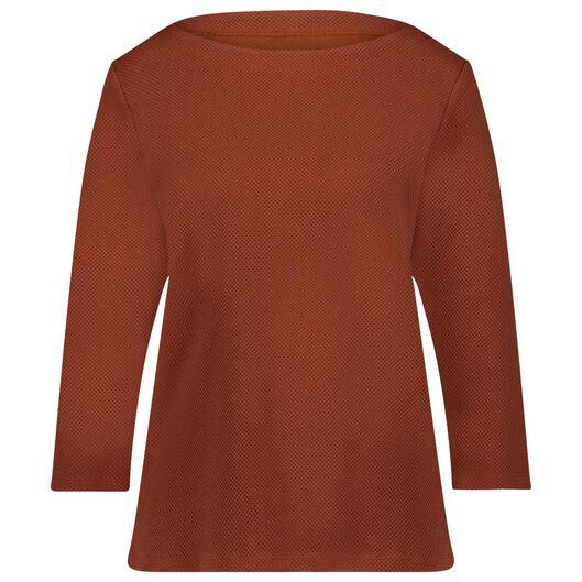 dames t-shirt structuur bruin bruin - 1000024838 - HEMA