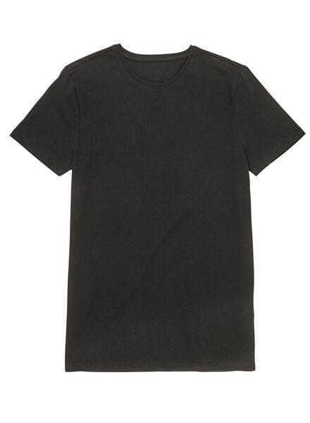 heren t-shirts extra lang - 2 stuks zwart zwart - 1000009971 - HEMA