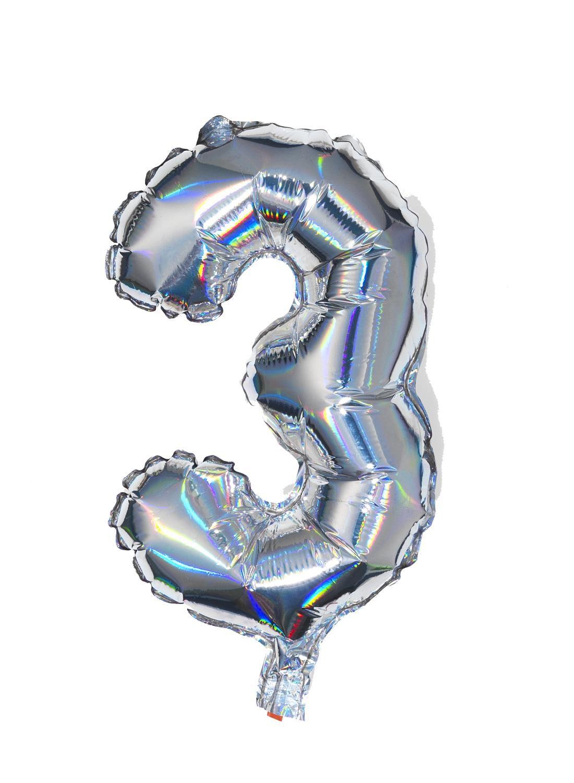 HEMA Folieballon 3 - Zilver (multicolor)