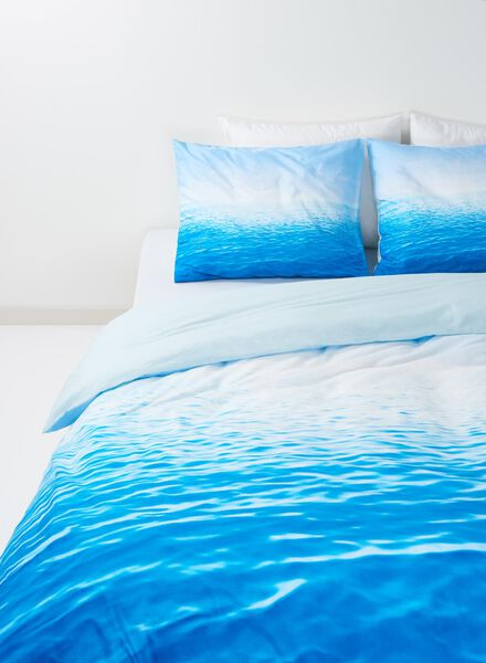 dekbedovertrek - zacht katoen - 200 x 200 cm - blauw zee - 5700082 - HEMA