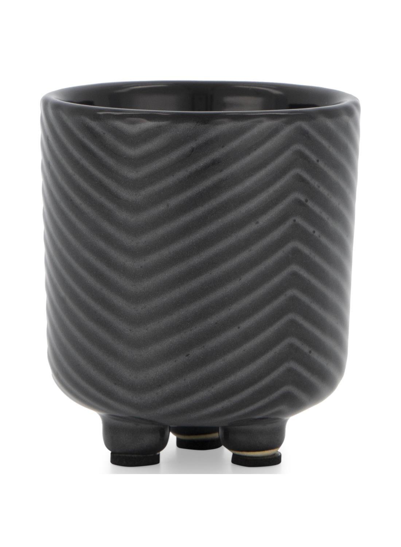 HEMA Bloempot - Ø 6.5 Cm - Zwart/wit Keramiek Zigzag (zwart)