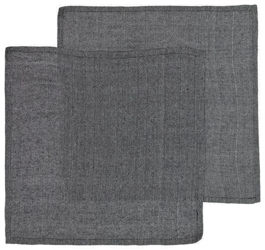 servetten - 47x47 - katoen - zwart/wit - 2 stuks - 5300103 - HEMA