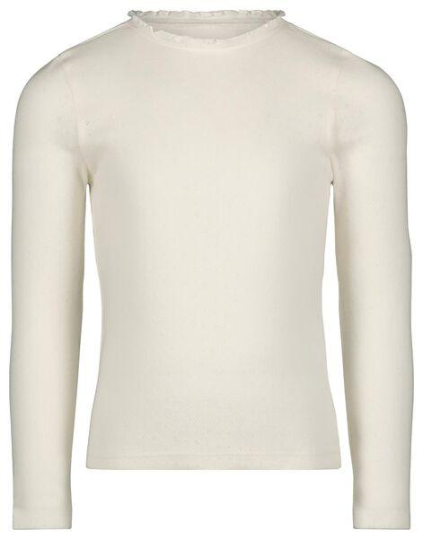 kinder t-shirt ajour gebroken wit 98/104 - 30820337 - HEMA