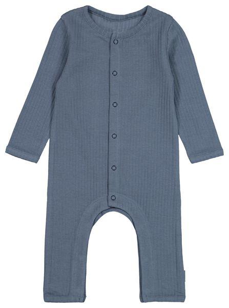 newborn jumpsuit rib biologisch katoen stretch donkerblauw donkerblauw - 1000022132 - HEMA