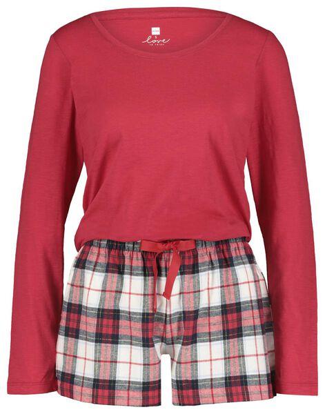 damespyjama rood rood - 1000021717 - HEMA