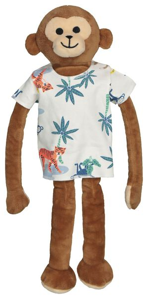 kindershortama met poppenpyjama bamboe jungle gebroken wit 122/128 - 23050264 - HEMA
