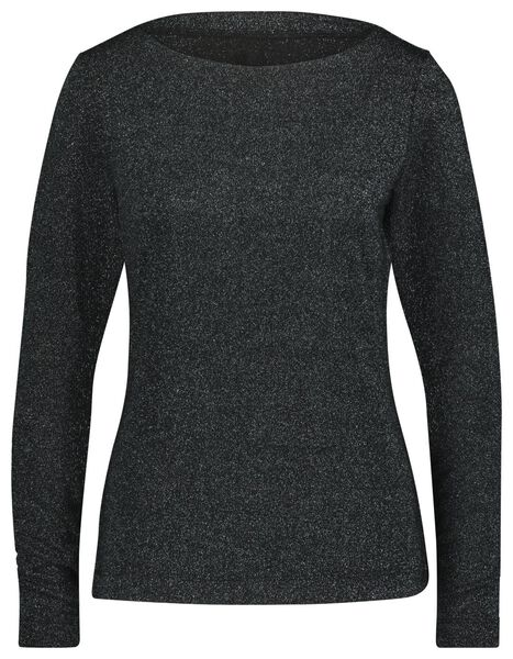dames t-shirt glitter zwart zwart - 1000021665 - HEMA