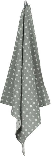 theedoek - 65 x 65 - katoen - grijs plusjes - 5400116 - HEMA
