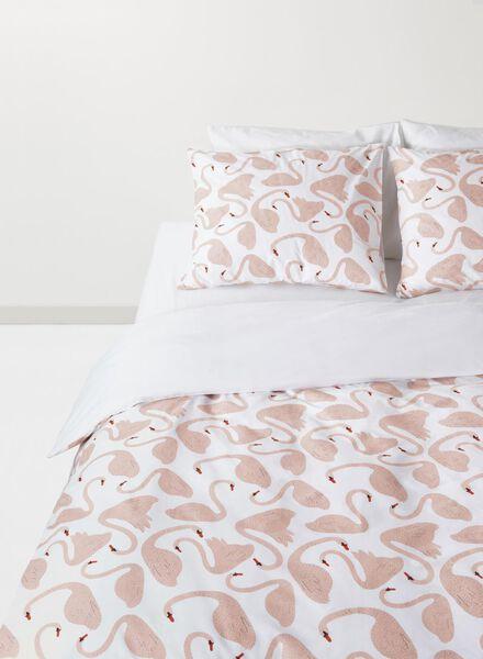 dekbedovertrek - zacht katoen - 200 x 200 cm - roze zwanen - 5710042 - HEMA