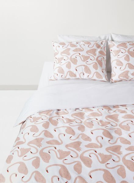 dekbedovertrek - zacht katoen - 240 x 220 cm - roze zwanen - 5710043 - HEMA