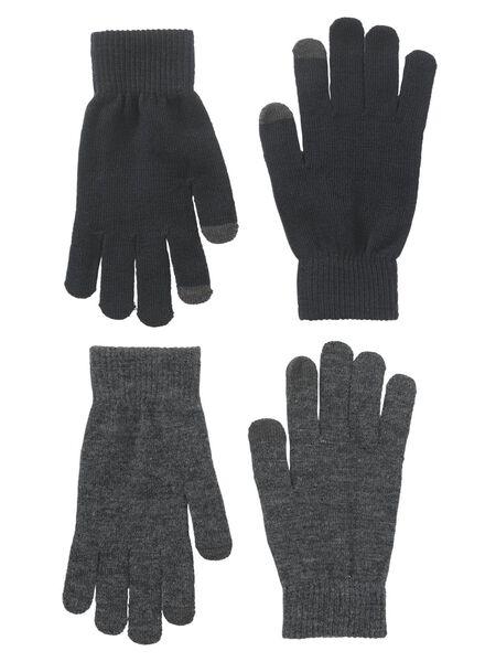 2-pak dameshandschoenen blauw S/M - 16460321 - HEMA