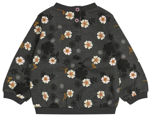 babysweater bloemen grijs - 1000024463 - HEMA