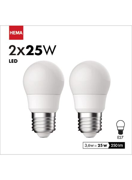2-pak LED kogellampen 3,6 watt - grote fitting - 250 lumen - 20090036 - HEMA