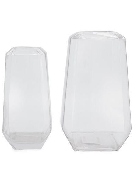 vaas - 26 cm - transparant facet - 13392025 - HEMA