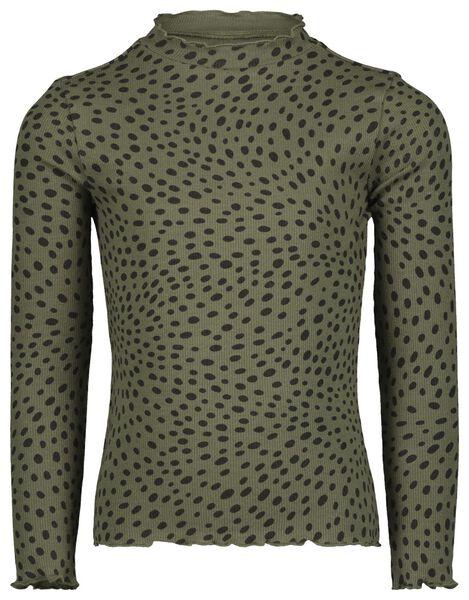 kinder t-shirt rib legergroen 122/128 - 30807938 - HEMA