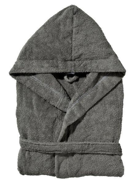 badstof badjas met capuchon middengrijs middengrijs - 1000002862 - HEMA