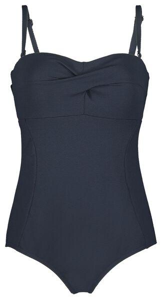 damesbadpak strapless corrigerend donkerblauw donkerblauw - 1000023606 - HEMA