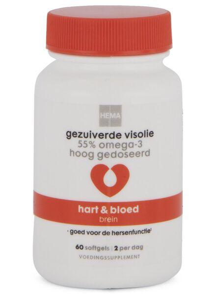 gezuiverde visolie - 55% omega-3 hoog gedoseerd - 60 stuks - 11402540 - HEMA