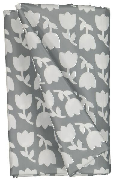 tafelzeil 140x240 polyester - tulpen grijs/wit - 5390006 - HEMA